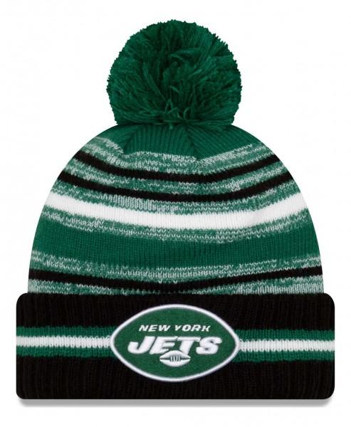 New Era - NFL New York Jets 2021 Sport Knit Bobble Beanie - Mehrfarbig Vorderansicht