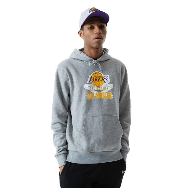 New Era - NBA Los Angeles Lakers Graphic PO Hoodie - Grau Vorderansicht