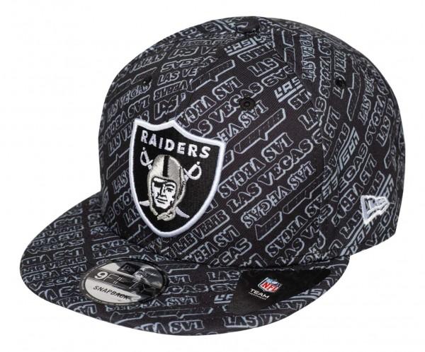 New Era - NFL Las Vegas Raiders Allover 9Fifty Snapback Cap - Grau Ansicht vorne schräg links