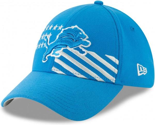 New Era - NFL Detroit Lions Draft 2019 On-Stage 39Thirty Stretch Cap - Blau Ansicht schräg links