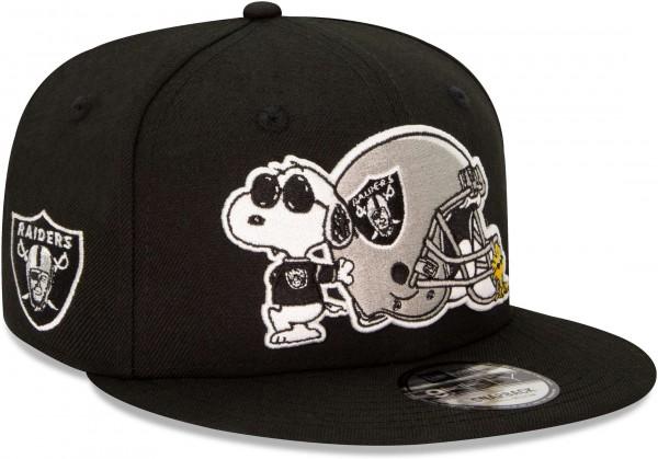 New Era - NFL Oakland Raiders Peanuts 9Fifty Snapback Cap - Schwarz Ansicht vorne schräg links