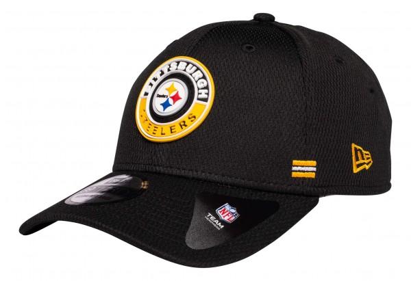 New Era - NFL Pittsburgh Steelers OnField 2020 Sideline Road Alternative 39Thirty Stretch Cap - Schwarz Ansicht vorne schräg links