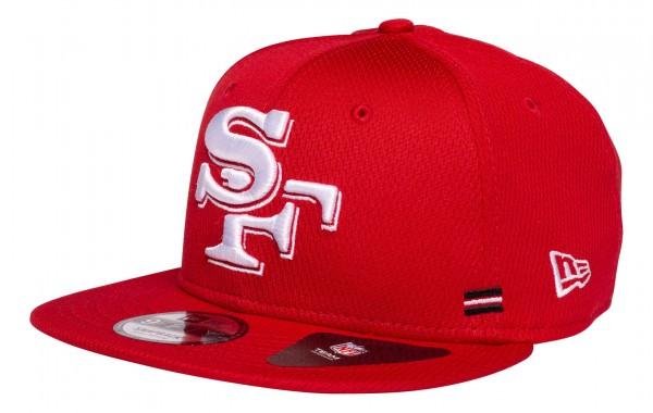 New Era - NFL San Francisco 49ers OnField 2020 Sideline Home 9Fifty Snapback Cap - Rot Ansicht vorne schräg links