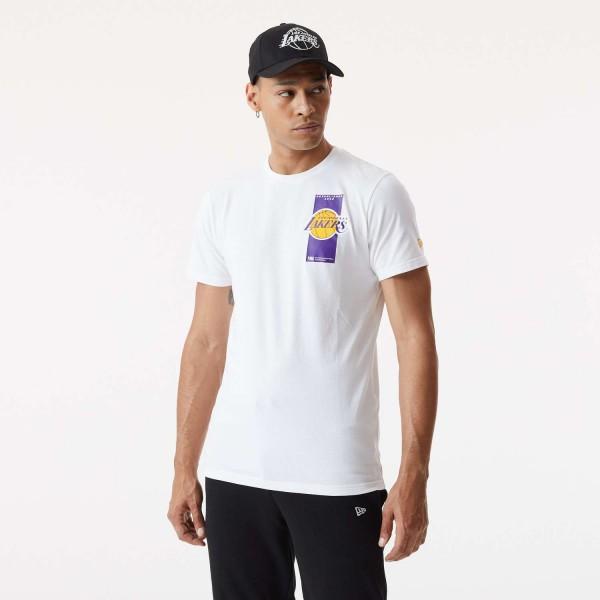 New Era - NBA Los Angeles Lakers Repeat Back Logo T-Shirt - Weiß Vorderansicht