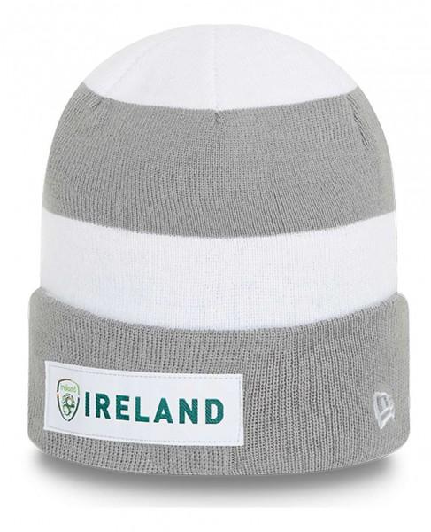 New Era - Football Association of Ireland Sriped Cuff Knit Beanie - Grau Ansicht vorne schräg links