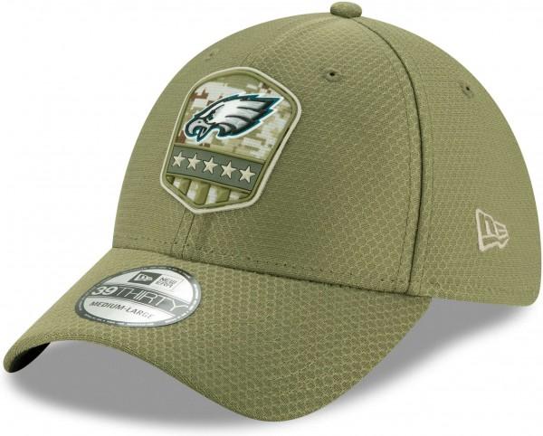 New Era - NFL Philadelphia Eagles On Field 2019 Salute to Service 39Thirty Stretch Cap - Olivgrün Ansicht schräg vorne links