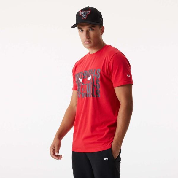 New Era - NBA Chicago Bulls Wordmark Repeat T-Shirt - Rot Vorderansicht