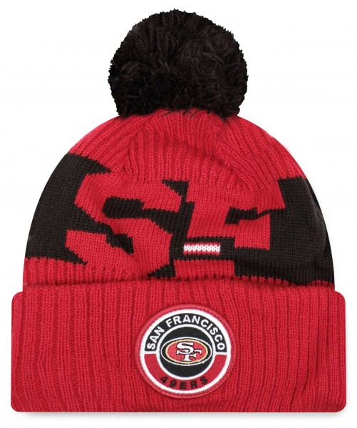 New Era - NFL San Francisco 49ers 2020 Sport Knit Bobble Beanie - Rot Vorderansicht