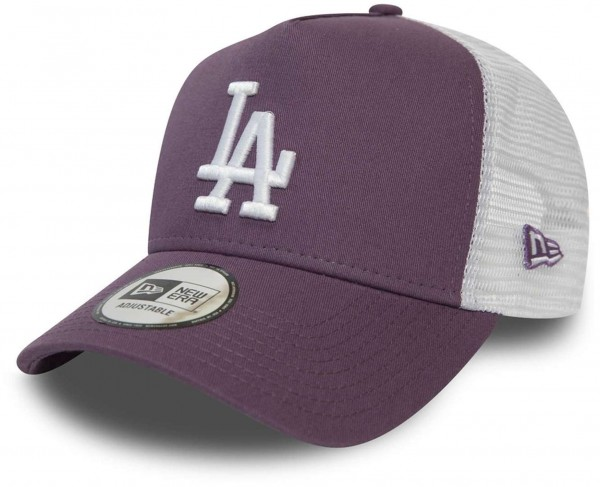 New Era - MLB Los Angeles Dodgers League Essential Trucker Snapback Cap - Violett Ansicht vorne schräg links