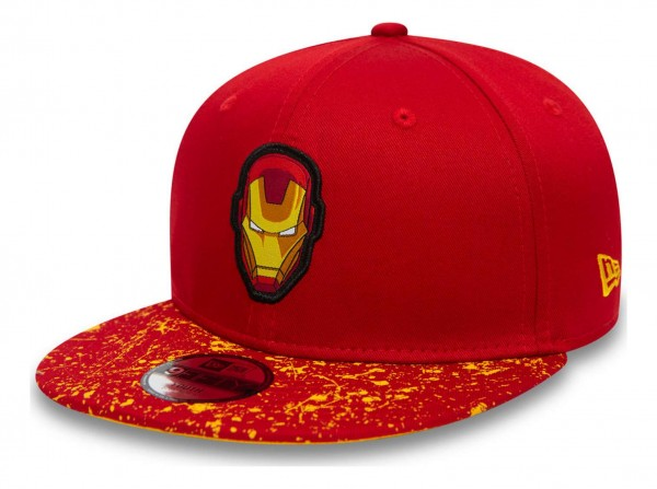New Era - Marvel Comics Iron Man Paint Splat Visor 9Fifty Kids Snapback Cap - Rot Ansicht vorne schräg links