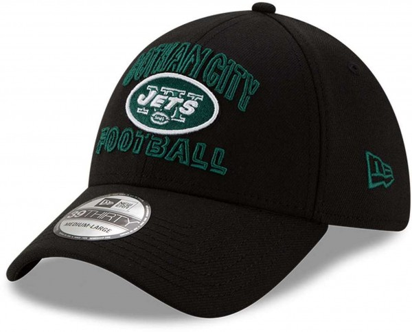 New Era - NFL New York Jets 2020 Draft Alternative 39Thirty Stretch Cap - Schwarz Ansicht vorne schräg links