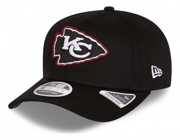 New Era - NFL Kansas City Chiefs Neon Pop Outline 9Fifty Stretch Snapback Cap - Schwarz Ansicht vorne schräg links