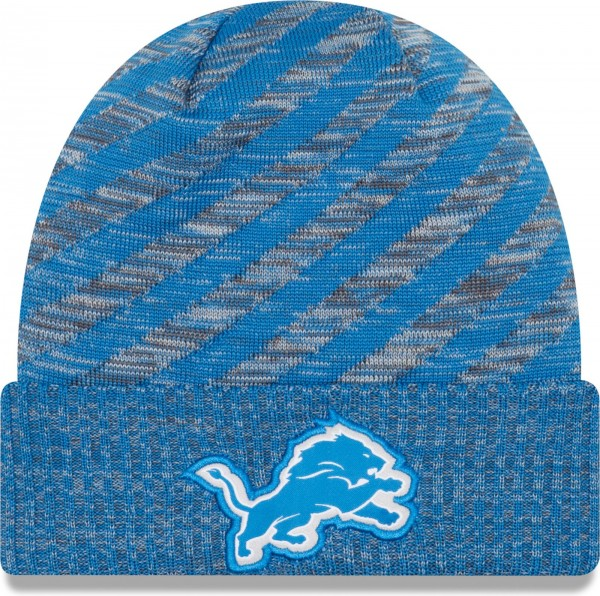 New Era - NFL Detroit Lions On Field 2018 TD Knit Beanie - Blau-Grau ansicht vorderseite