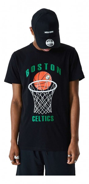 New Era - NBA Boston Celtics Basketball T-Shirt - Schwarz Vorderansicht