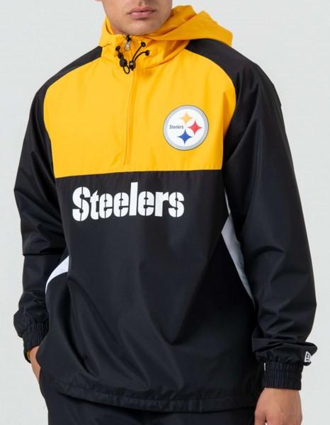 New Era - NFL Pittsburgh Steelers Colour Block Windbreaker Jacke - Schwarz-Gelb Vorderansicht