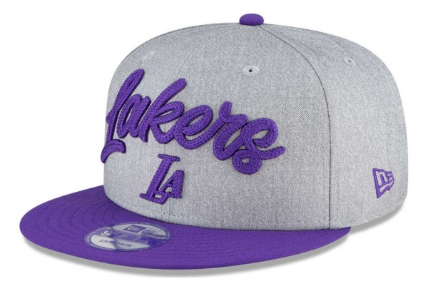 New Era - NBA Los Angeles Lakers 2020 Draft Edition 9Fifty Snapback Cap - Grau-Violett Ansicht vorne schräg links