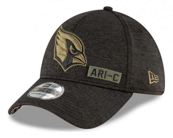 New Era - NFL Arizona Cardinals 2020 Salute to Service 39Thirty Stretch Cap - Schwarz Ansicht vorne schräg rechts