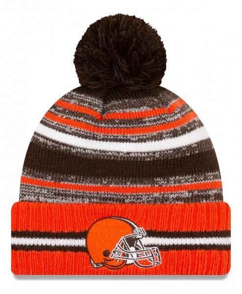 New Era - NFL Cleveland Browns 2021 Sport Knit Bobble Beanie - Mehrfarbig Vorderansicht