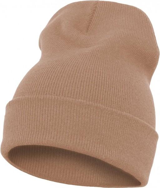 Yupoong - Heavyweight Knit Cuffed Long Beanie - Croissant Beige Schrägansicht Vorderseite