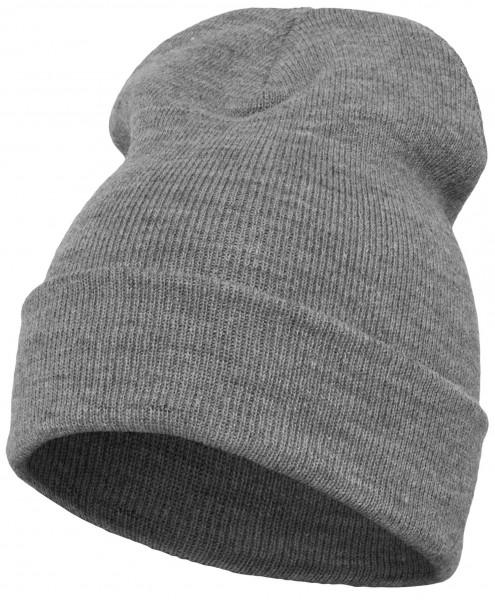 Yupoong - Heavyweight Knit Cuffed Long Beanie - Grau meliert Schrägansicht Vorderseite