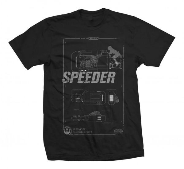 Bravado - Star Wars Episode 7 Reys Speeder Retro T-Shirt - Schwarz Vorderansicht