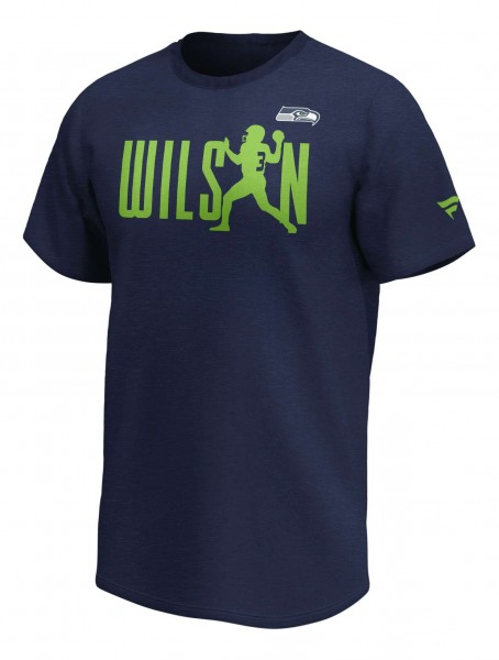 Fanatics - NFL Seattle Seahawks Russell Wilson Checkdown Player T-Shirt - Blau Vorderansicht