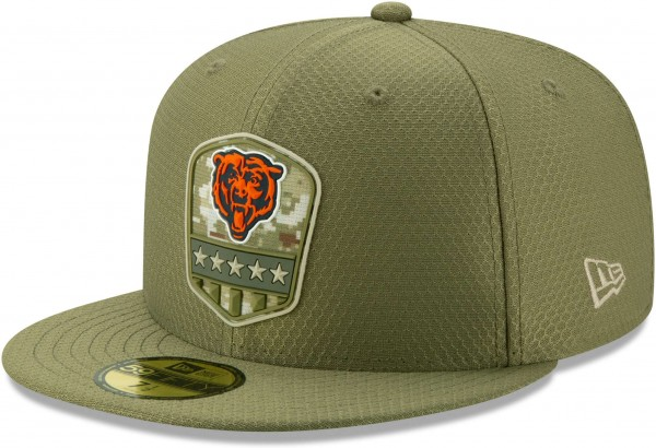 New Era - NFL Chicago Bears On Field 2019 Salute to Service 59Fifty Fitted Cap - Olivgrün Ansicht vorne schräg links