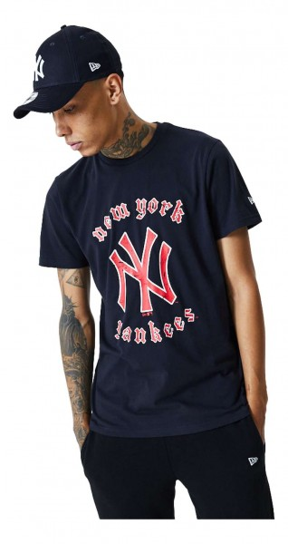 New Era - MLB New York Yankees Retro Team Logo T-Shirt - Blau Vorderansicht