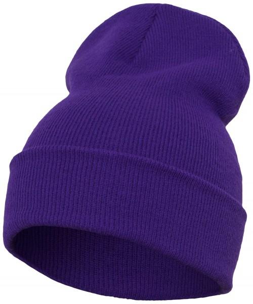 Yupoong - Heavyweight Knit Cuffed Long Beanie - Violett Schrägansicht Vorderseite