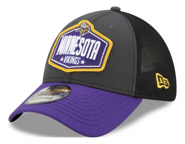 New Era - NFL Minnesota Vikings 2021 Draft 39Thirty Trucker Stretch Cap - Mehrfarbig Ansicht vorne schräg links