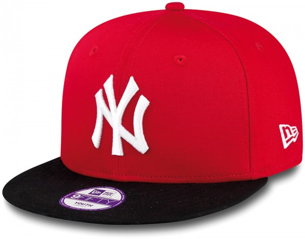 New Era - MLB New York Yankees Cotton Block 9Fifty Kids Snapback Cap - Rot-Schwarz Frontansicht