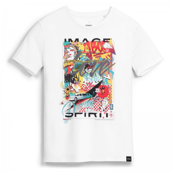 YESNO - MOST An Imitation of juvenility, almost framed T-Shirt - Weiß