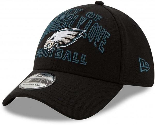 New Era - NFL Philadelphia Eagles 2020 Draft Alternative 39Thirty Stretch Cap - Schwarz Ansicht vorne schräg links