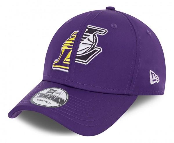 New Era - NBA Los Angeles Lakers Half Half 9Forty Strapback Cap - Lila Ansicht vorne schräg links