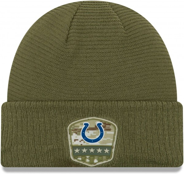 New Era - NFL Indianapolis Colts On Field 2019 Salute to Service Knit Cuff Beanie - Olivgrün Vorderansicht