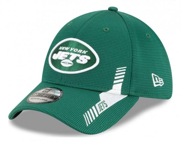New Era - NFL New York Jets 2021 Sideline Home 39Thirty Stretch Cap - Grün Ansicht vorne schräg links