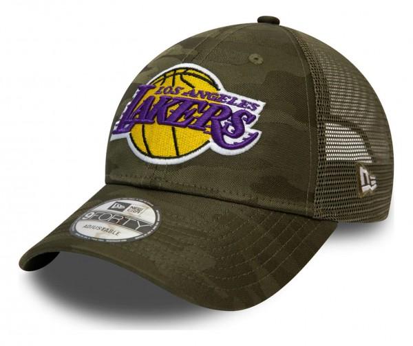New Era - NBA Los Angeles Lakers Home Field 9Forty Trucker Strapback Cap - Grau Ansicht vorne schräg links
