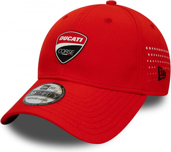 New Era - Ducati Corse FA19 39Thirty Stretch Cap - Rot Ansicht schräg vornelinks
