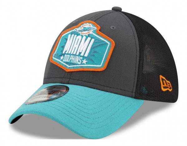 New Era - NFL Miami Dolphins 2021 Draft 39Thirty Trucker Stretch Cap - Mehrfarbig Ansicht vorne schräg links