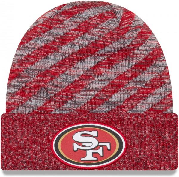 New Era - NFL San Francisco 49ers On Field 2018 TD Knit Beanie - Rot-Grau ansicht vorderseite