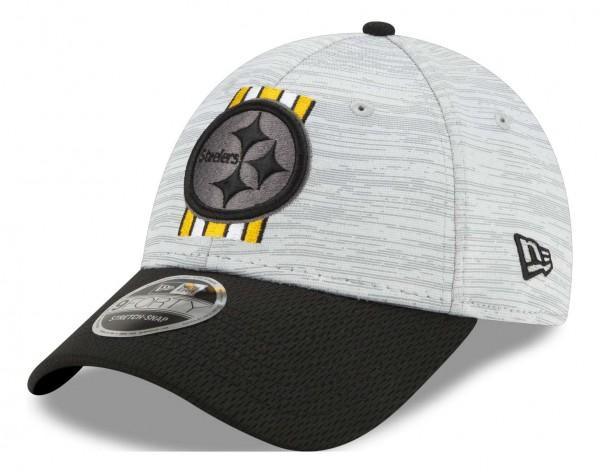 New Era - NFL Pittsburgh Steelers 2021 Training 9Forty Snapback Cap - Grau-Schwarz Ansicht vorne schräg links
