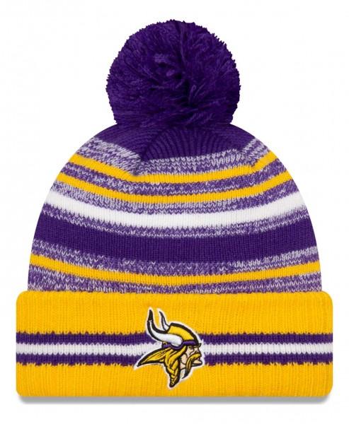 New Era - NFL Minnesota Vikings 2021 Sport Knit Bobble Beanie - Mehrfarbig Vorderansicht