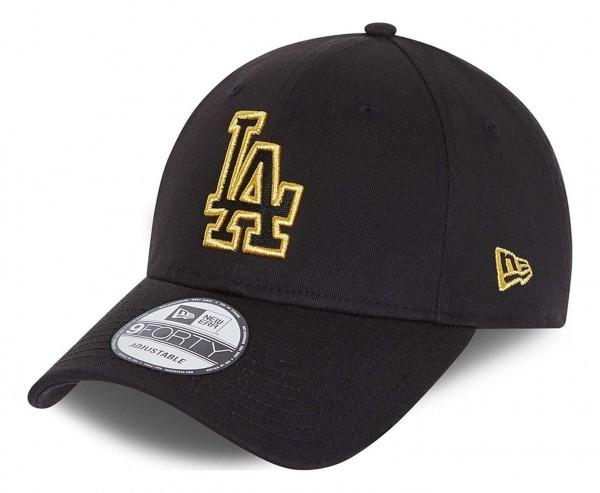 New Era - MLB Los Angeles Dodgers Metallic Logo 9Forty Strapback Cap - Schwarz Ansicht vorne schräg links