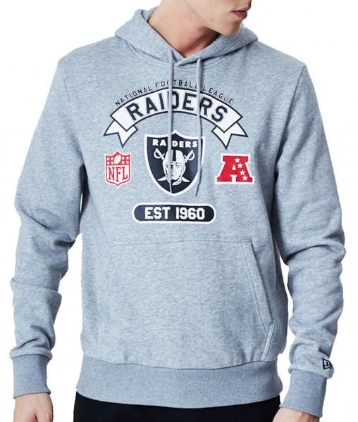 New Era - NFL Oakland Raiders Graphic PO Hoodie - Grau Vorderansicht