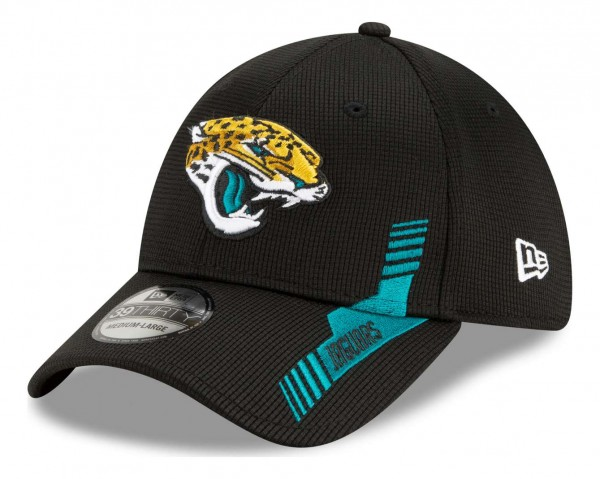 New Era - NFL Jacksonville Jaguars 2021 Sideline Home 39Thirty Stretch Cap - Schwarz Ansicht vorne schräg links