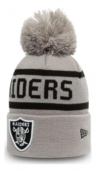 New Era - NFL Las Vegas Raiders Jake Cuff Knit Kids Bobble Beanie - Grau Ansicht vorne schräg links