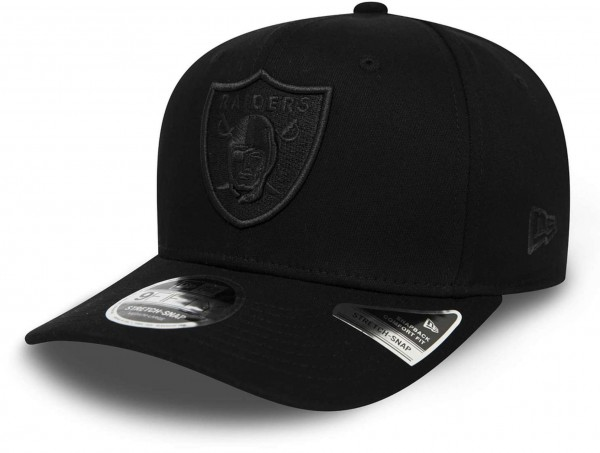 New Era - NFL Las Vegas Raiders Tonal Black 9Fifty Stretch Snapback Cap - Schwarz Ansicht vorne schräg links