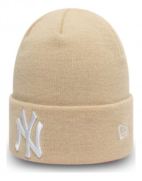 New Era - MLB New York Yankees League Essential Knit Cuff Beanie - Beige Ansicht vorne schräg links