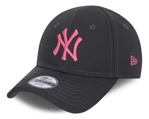 New Era - MLB New York Yankees Neon Pack 9Forty Kids Strapback Cap - Grau Ansicht vorne schräg links