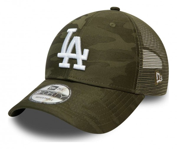 New Era - MLB Los Angeles Dodgers Home Field 9Forty Trucker Strapback Cap - Grau Ansicht vorne schräg links